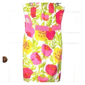 Lilly Pulitzer 6 pink floral print strapless dress